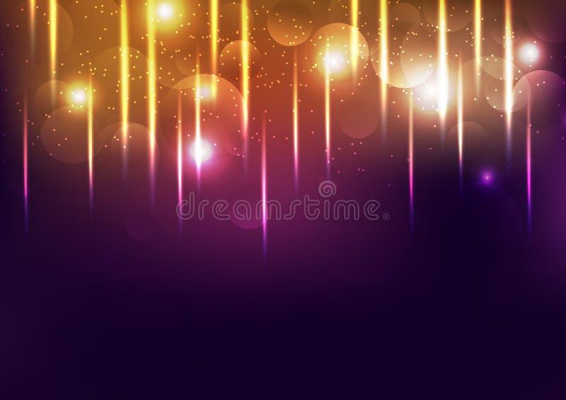 Ljus för beröm guld- skinande festival, glödande konfettinedgång för explosion, damm och kornig abstrakt bakgrundsvektorillustrat vektor illustrationer