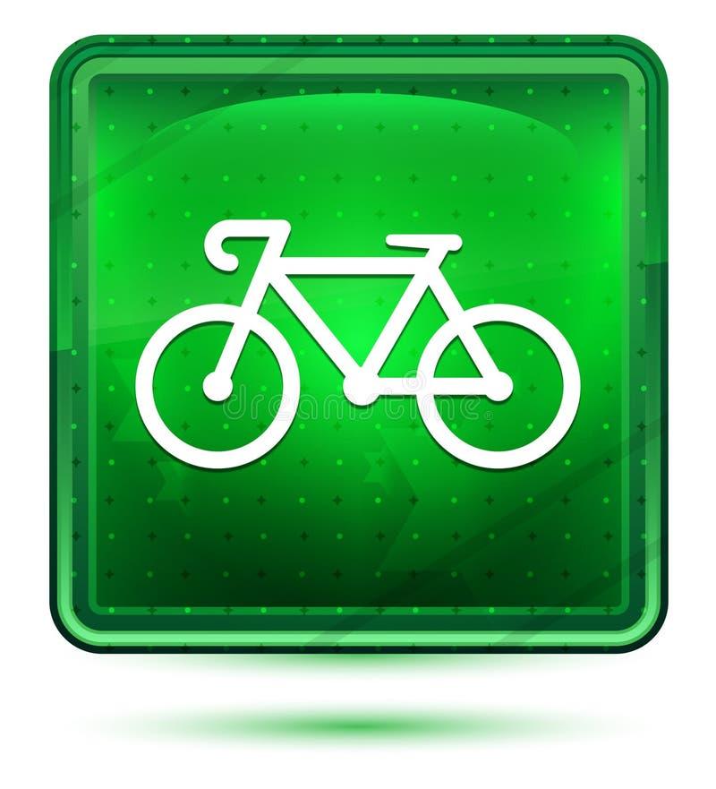 Ljus för cykelsymbolsneon - grön fyrkantig knapp royaltyfri illustrationer