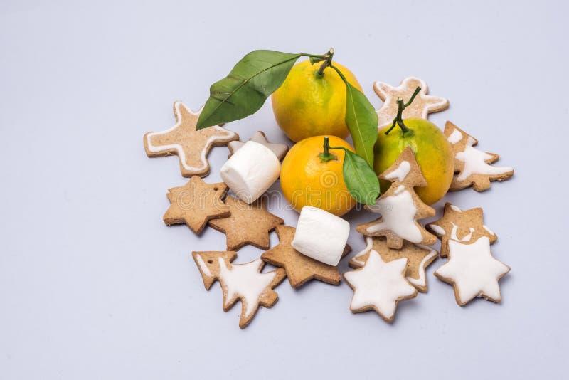 Ljus för kort för ferie för tangerin för kakor för pepparkaka för julsammansättningsjul kanelbrunt festligt - blått bakgrundskopi royaltyfri bild