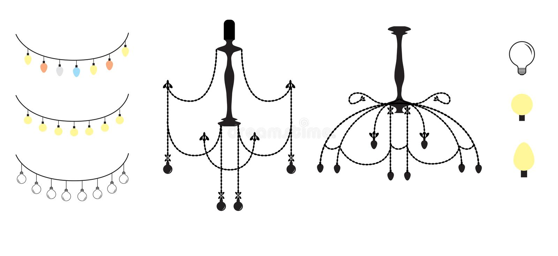Ljus för ljuskrona- och julljus royaltyfri illustrationer