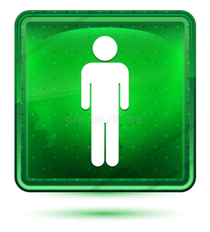 Ljus för mansymbolsneon - grön fyrkantig knapp vektor illustrationer