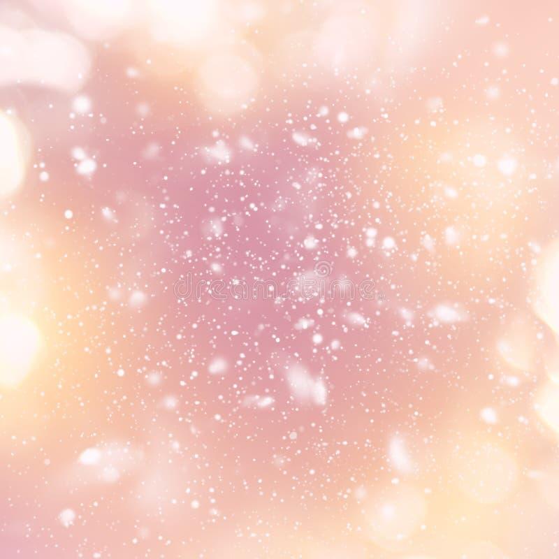 Ljus för natt för snöfallhimmelDigital teckning ljust stock illustrationer