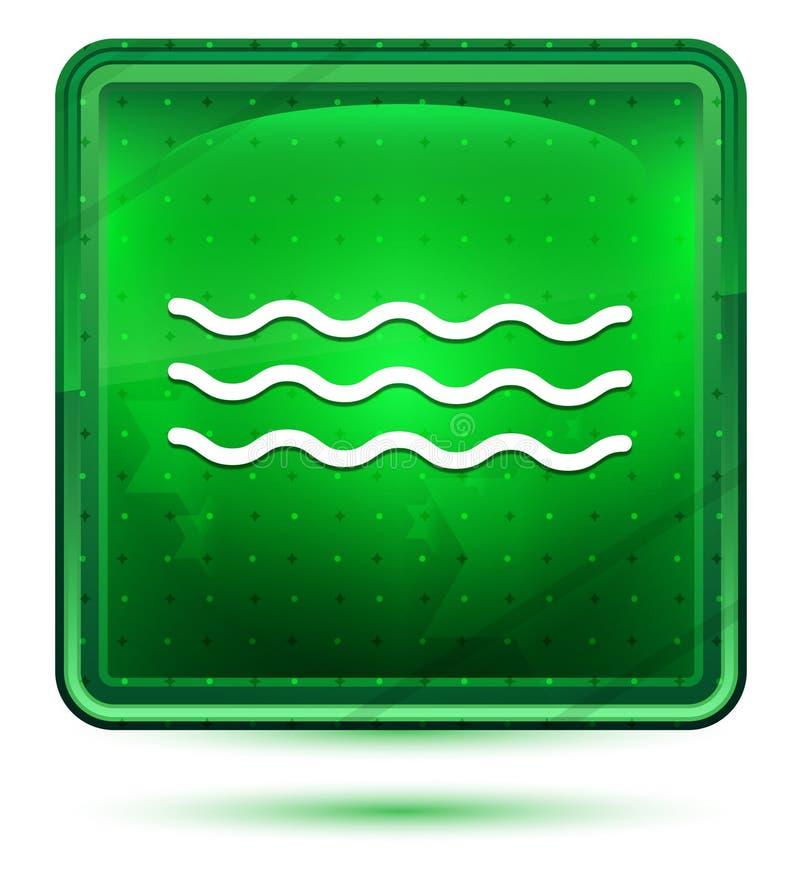 Ljus för neon för havsvågsymbol - grön fyrkantig knapp stock illustrationer