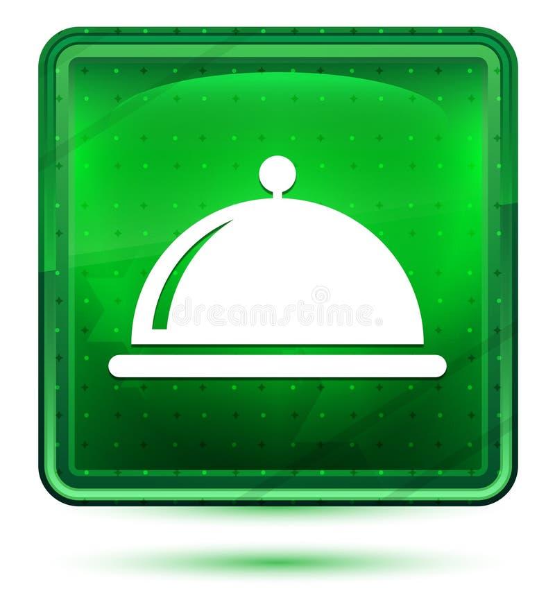 Ljus för neon för maträkningssymbol - grön fyrkantig knapp vektor illustrationer