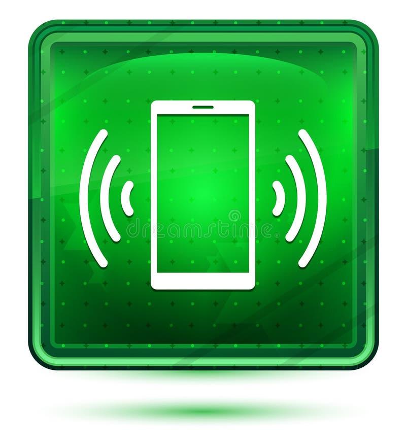 Ljus för neon för symbol för Smartphone nätverkssignal - grön fyrkantig knapp royaltyfri illustrationer