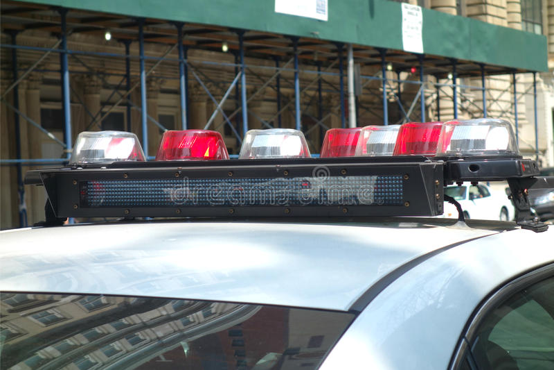Ljus för polisbil arkivbild