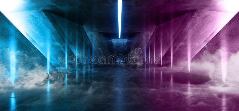 Ljus för purpurfärgad blå Cyber för fluorescerande Retro Sci Fi futuristiskt neon för röklaser glödande lysande vibrerande i mörk vektor illustrationer