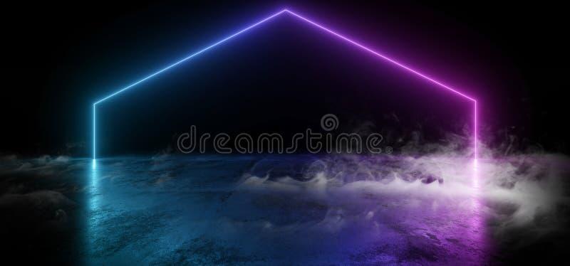 Ljus för purpurfärgad blå för lutning för laser för faktiskt neon för rök ljusa glödande konkreta formade vibrerande för show Gru royaltyfri illustrationer
