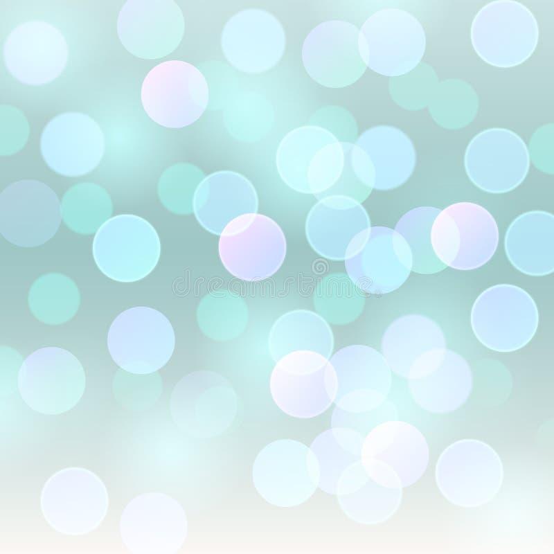 Ljus för realistisk abstrakt bakgrund för vektor suddigt defocused - blå bokeh tänder vektor illustrationer
