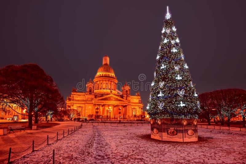 Ljus för St Petersburg julgata arkivfoto