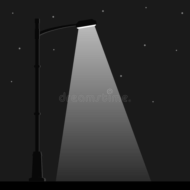 Ljus för stadsnattgata med ljus från streetlightlampan Utomhus- lampstolpe i plan stil strålkastare vektor illustrationer