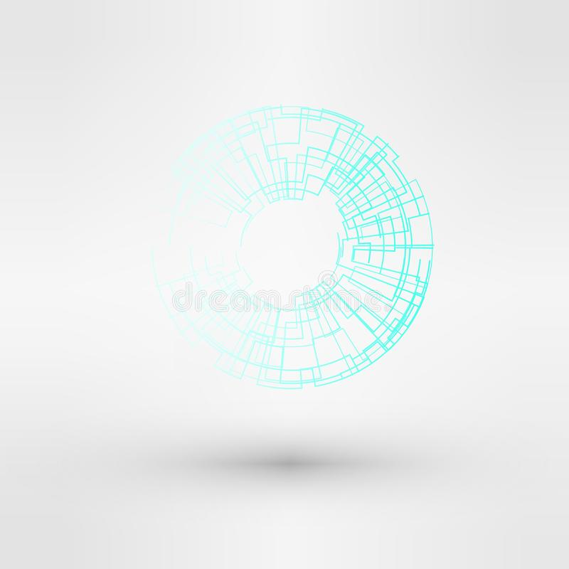Ljus - för teknologilogo för blått vatten uppsättning för design stock illustrationer