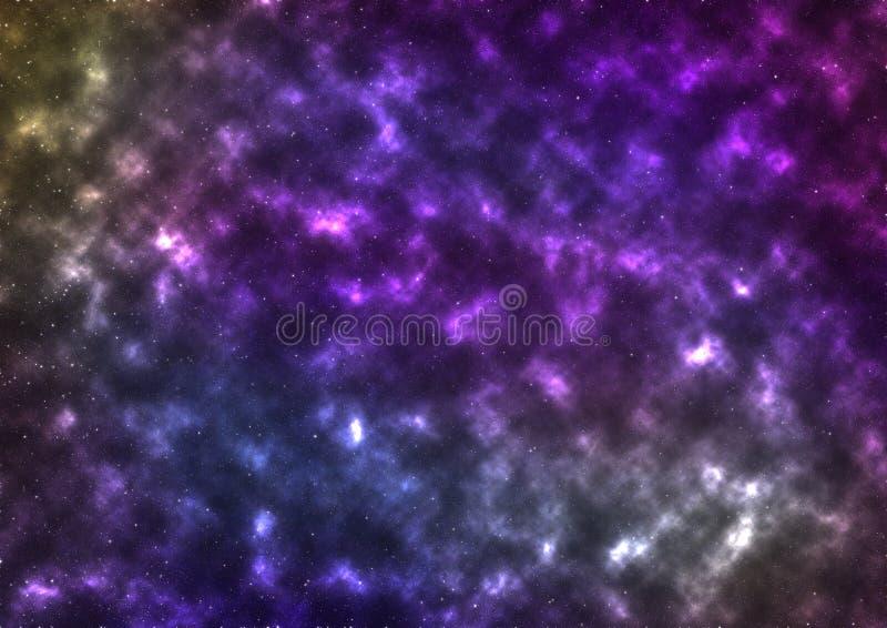 Ljus f?rgrik kosmosillustration f?r kosmos med planeten vektor illustrationer