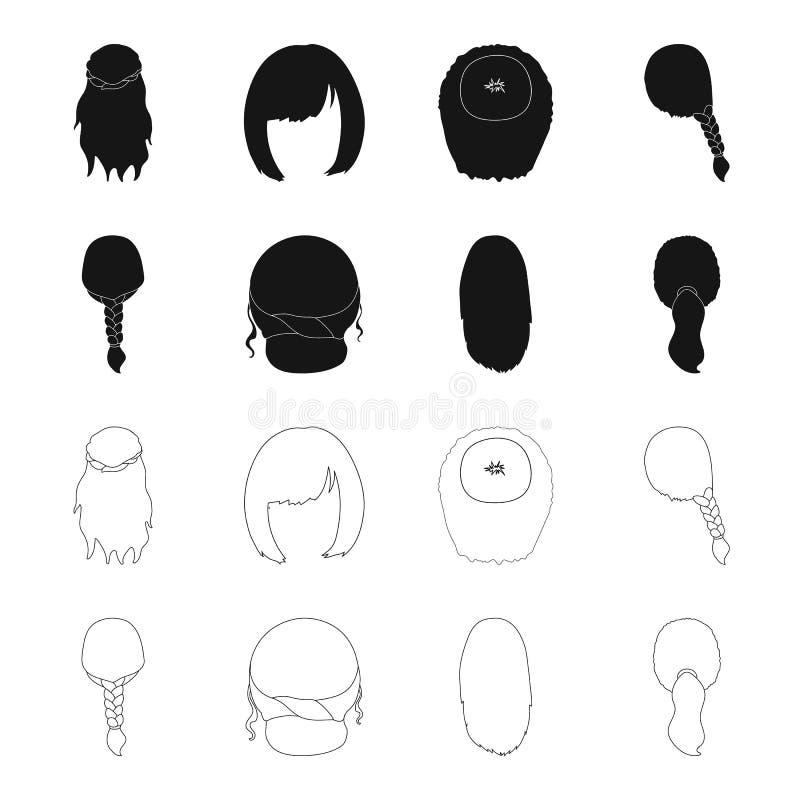 Ljus flätad tråd, fisksvans och andra typer av frisyrer Tillbaka symboler för frisyruppsättningsamling i svart, översiktsstilvekt stock illustrationer