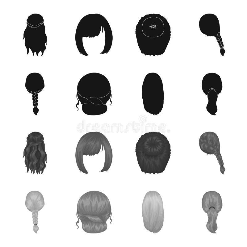 Ljus flätad tråd, fisksvans och andra typer av frisyrer Tillbaka symboler för frisyruppsättningsamling i svart, monokrom stil stock illustrationer