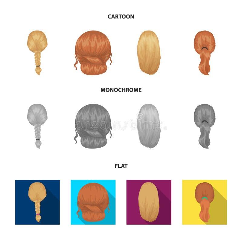 Ljus flätad tråd, fisksvans och andra typer av frisyrer Tillbaka symboler för frisyruppsättningsamling i tecknade filmen, lägenhe royaltyfri illustrationer