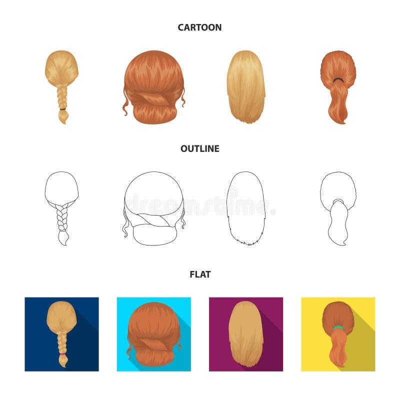 Ljus flätad tråd, fisksvans och andra typer av frisyrer Tillbaka symboler för frisyruppsättningsamling i tecknade filmen, översik vektor illustrationer