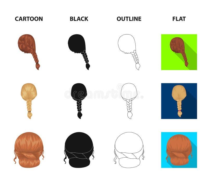 Ljus flätad tråd, fisksvans och andra typer av frisyrer Tillbaka symboler för frisyruppsättningsamling i tecknade filmen, svart,  vektor illustrationer