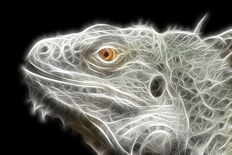 Ljus fractalbild av en leguanödla stock illustrationer
