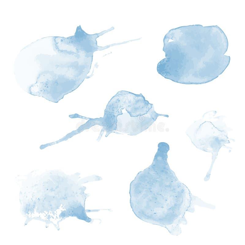 Ljus genomskinlig vattenfärgvektoruppsättning av blåa fläckar vektor illustrationer