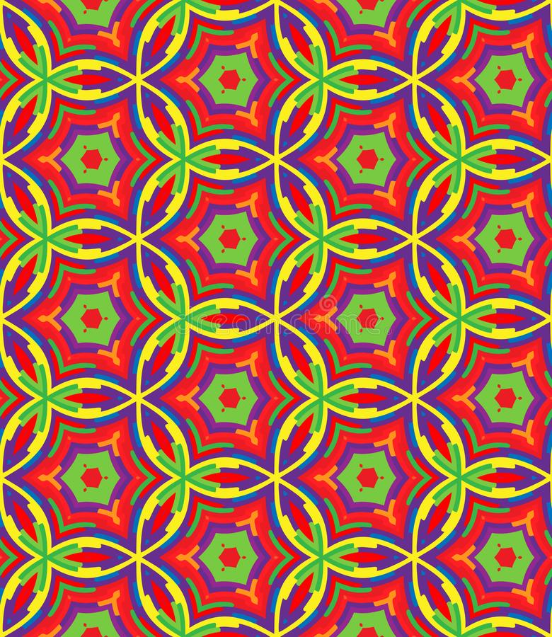 Ljus geometrisk modell i repetition Tygtryck Sömlös bakgrund, mosaikprydnad, etnisk stil stock illustrationer