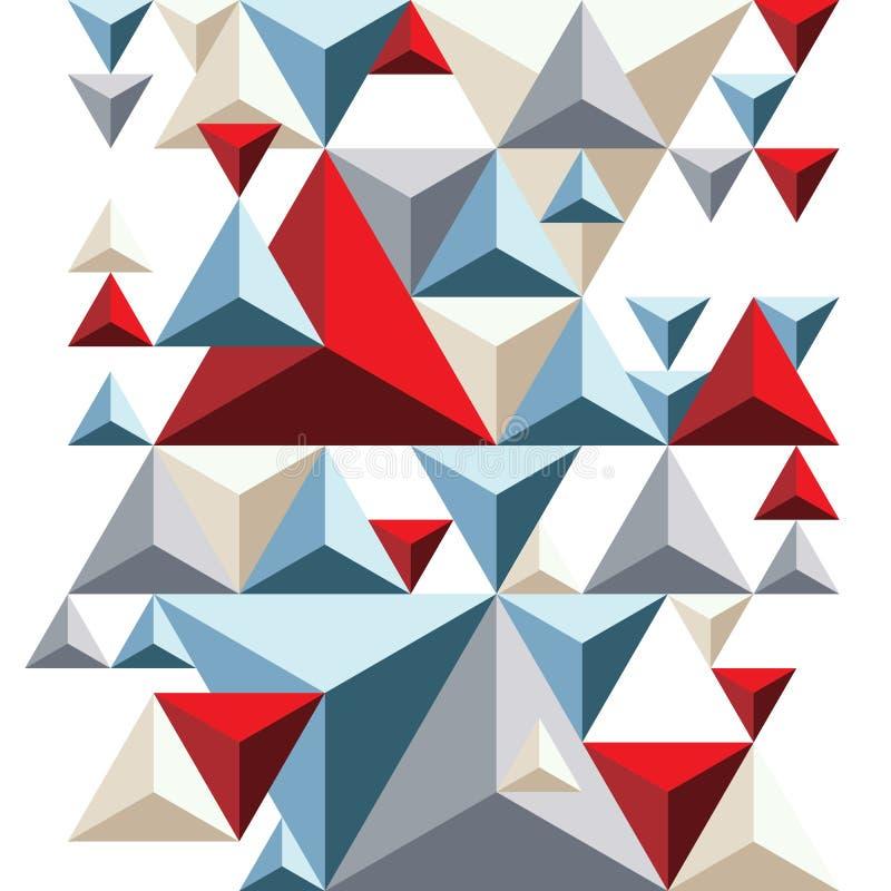 Ljus geometrisk pyramidal bakgrund, färgrika trianglar vektor illustrationer