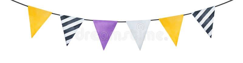 Ljus girland med färg och modellen för gulliga pappers- flaggor olik royaltyfri bild