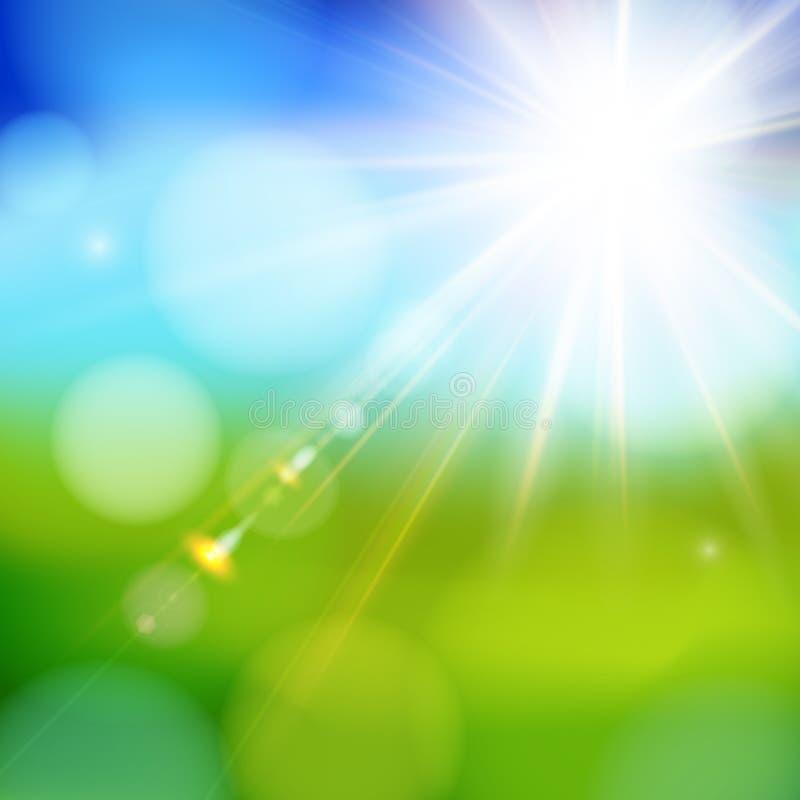 Ljus glänsande sol med linssignalljuset. stock illustrationer