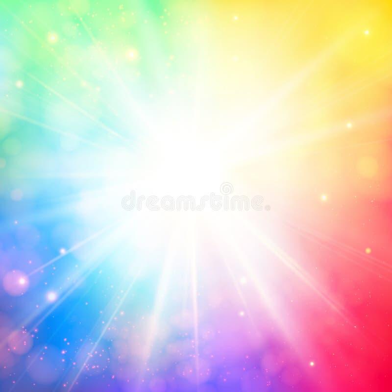Ljus glänsande sol med linssignalljuset. Mjuk bakgrund med bokeh e royaltyfri illustrationer