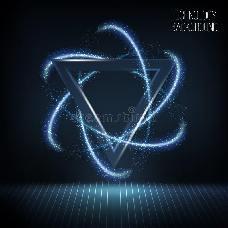 Ljus glänsande triangel med glödande neonljus och den retro diskoetappen vektor illustrationer