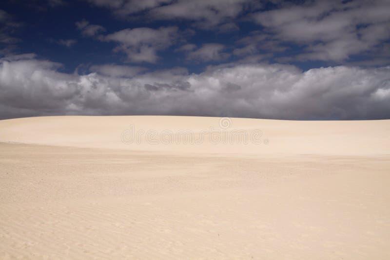 Ljus glänsande vit kant av sanddyn som kontrasterar mot djupblå himmel, Corralejo, Fuerteventura, kanariefågelöar arkivfoto