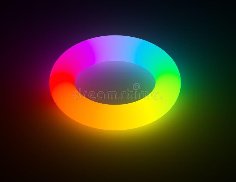 Ljus glödande cirkel för regnbågefärg vektor illustrationer