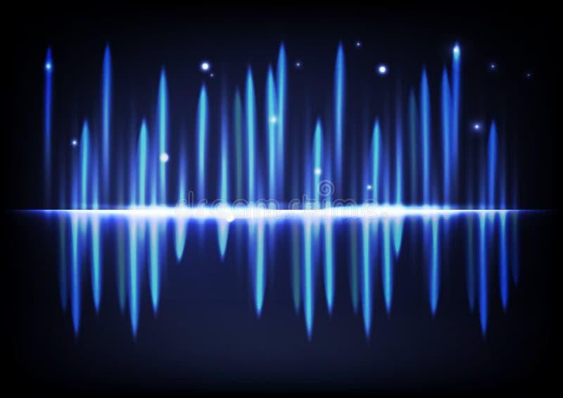 Ljus ljus glödande equ för volym för musik för effektabstrakt begreppbakgrund stock illustrationer