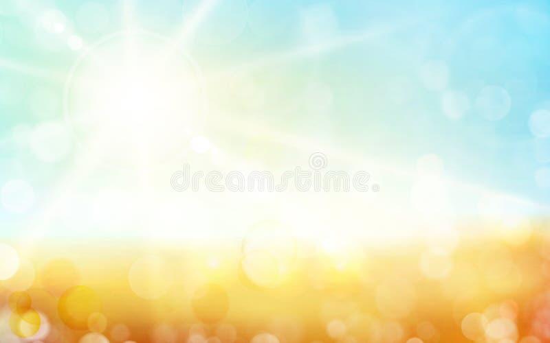 Ljus - gräsplan, blå autunbakgrund med solsken och oskarpa ljusa prickar fotografering för bildbyråer