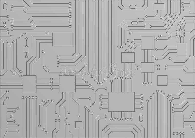 Ljus - grå illustration av slutet för strömkretsbräde/CPU upp som begreppet för digitization royaltyfri illustrationer