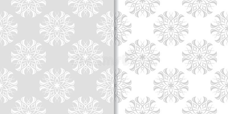 Ljus - gråa blom- bakgrunder mönsan den seamless seten royaltyfri illustrationer