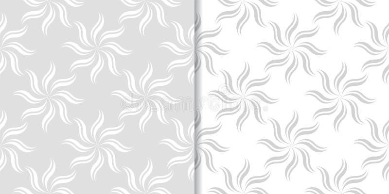 Ljus - gråa blom- bakgrunder mönsan den seamless seten stock illustrationer