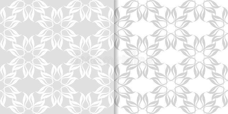Ljus - gråa blom- dekorativa designer mönsan den seamless seten vektor illustrationer