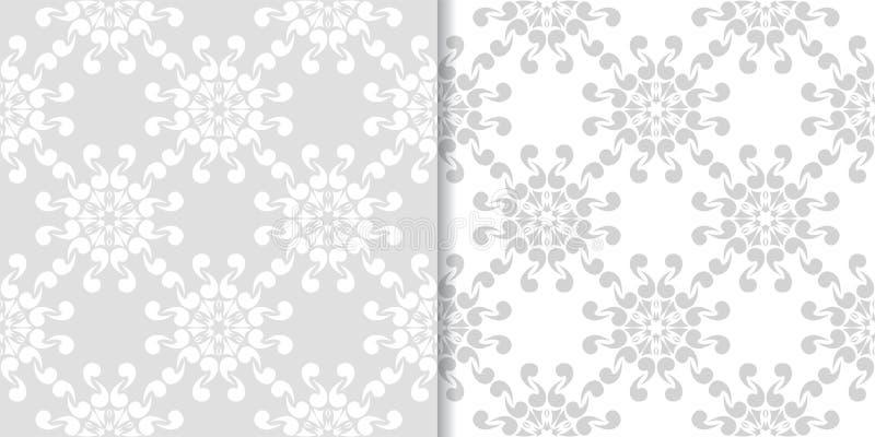 Ljus - gråa blom- prydnader mönsan den seamless seten royaltyfri illustrationer