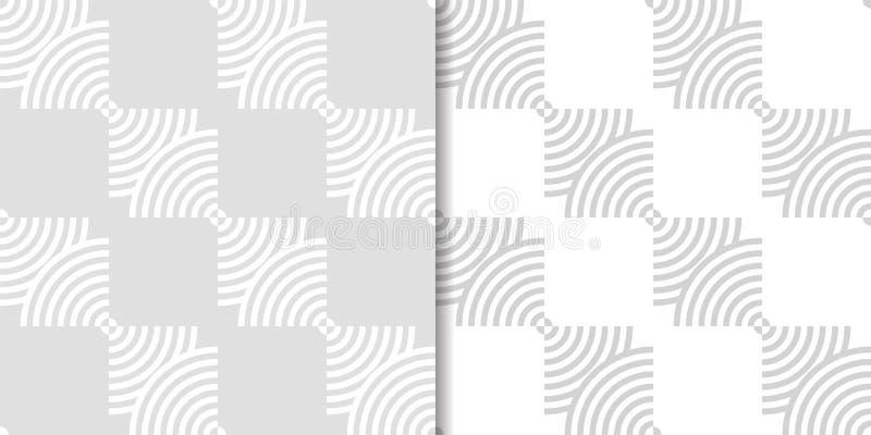 Ljus - gråa geometriska prydnader mönsan den seamless seten royaltyfri illustrationer