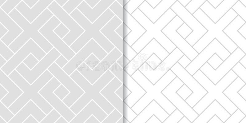 Ljus - gråa geometriska tryck mönsan den seamless seten royaltyfri illustrationer