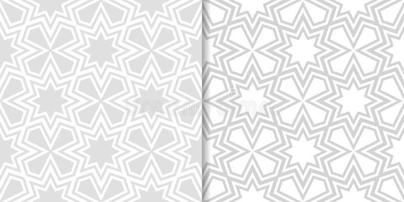 Ljus - gråa geometriska tryck mönsan den seamless seten stock illustrationer