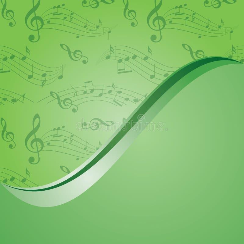 Ljus - grön musikbakgrund - vektor med lutning royaltyfri illustrationer