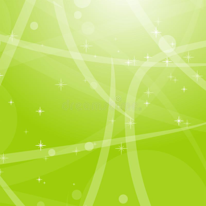 Ljus - gr?n abstrakt bakgrund med stj?rnor, cirklar och band Plan vektorillustration royaltyfria foton