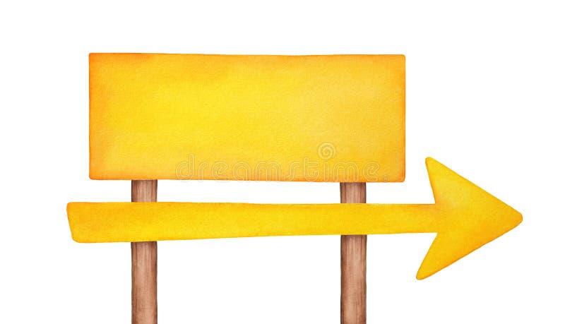 Ljus gul skylt med stor pilform, träpoler och breda fyrkantiga panelen som förlägger något meddelande, adress, information om tex royaltyfri illustrationer