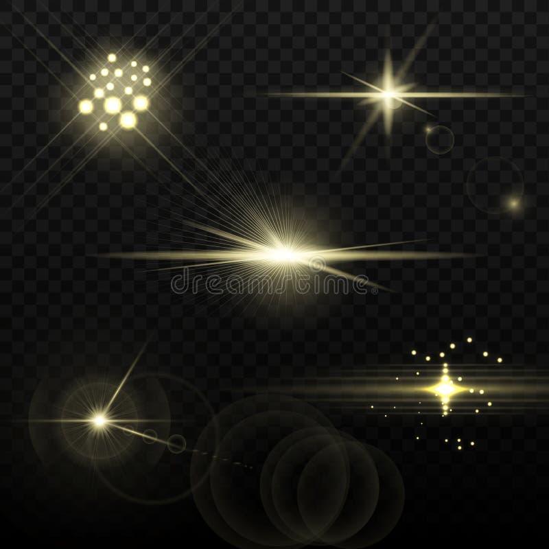 Ljus - gula optiska Lens signalljus royaltyfri illustrationer