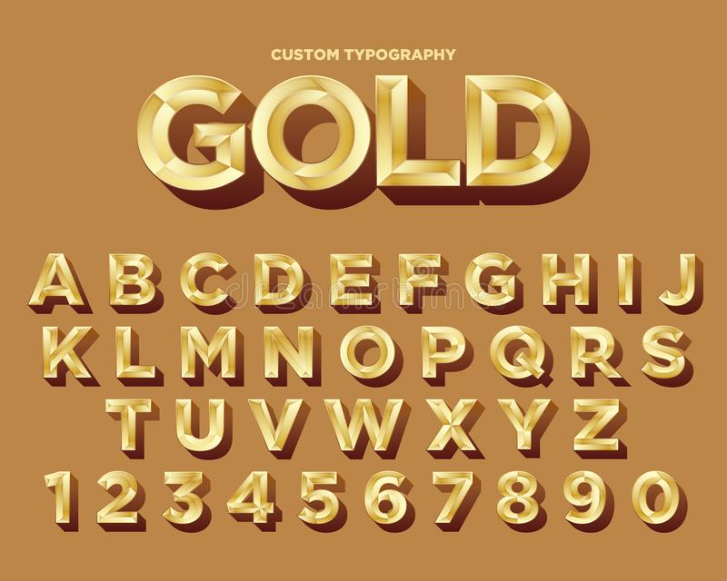 Ljus guld- lyxig typografidesign stock illustrationer