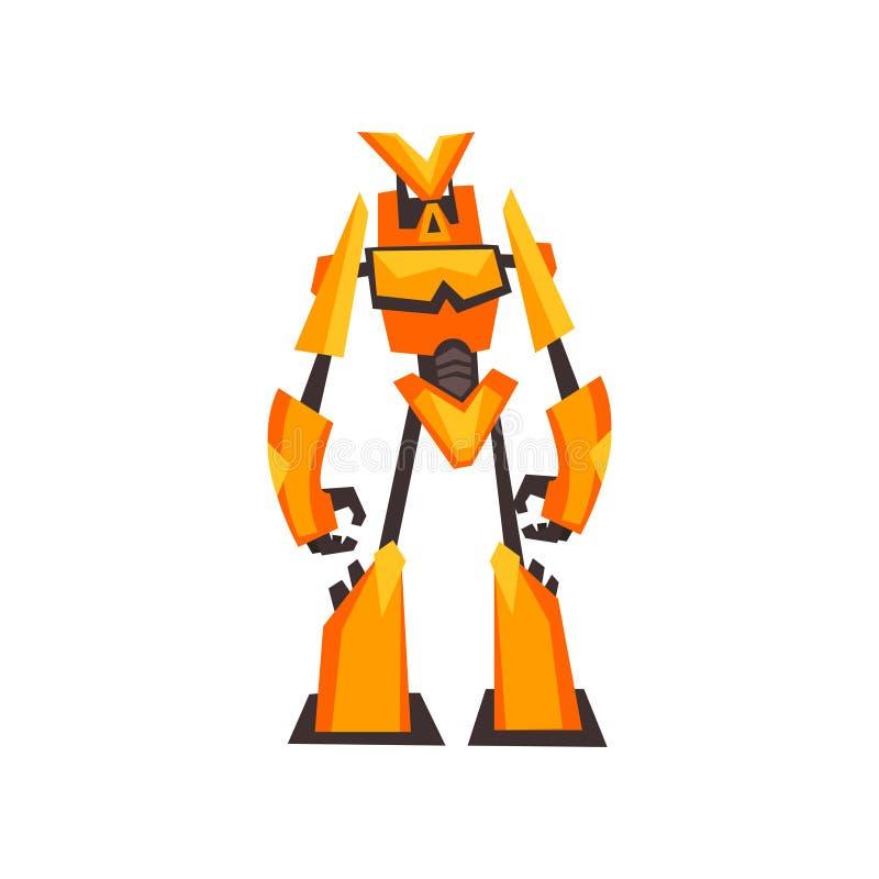 Ljus guling-apelsin robottransformator med jordluckrarehänder Fantasimetallmonster Isolerad plan vektordesign stock illustrationer