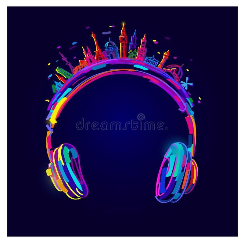 Ljus hörlurar för vektor, färgrik hörlurar vektor illustrationer