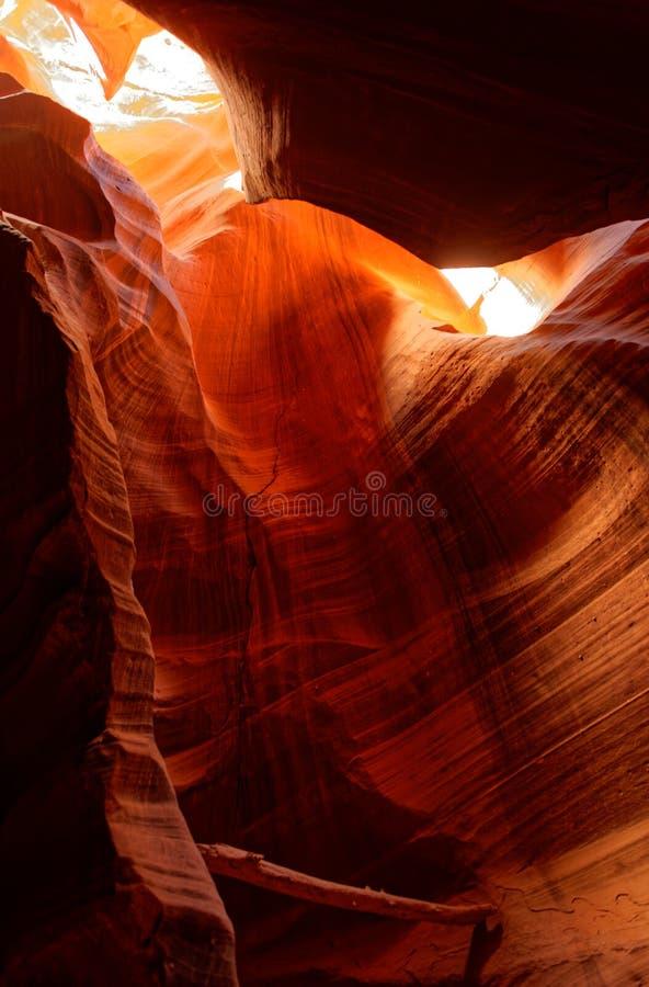 Ljus i övreantilopkanjonen, Arizona arkivfoto